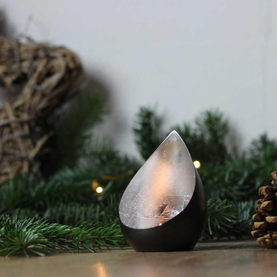 Theelichthouder, theelichtschaal Flame antraciet / zilver
