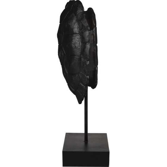 Ornament Turtle op voet zwart L