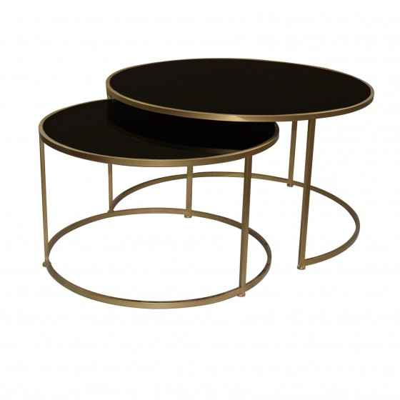 PTMD Miyo Dark Glass Gold Iron Round Coffeetable Set van 2