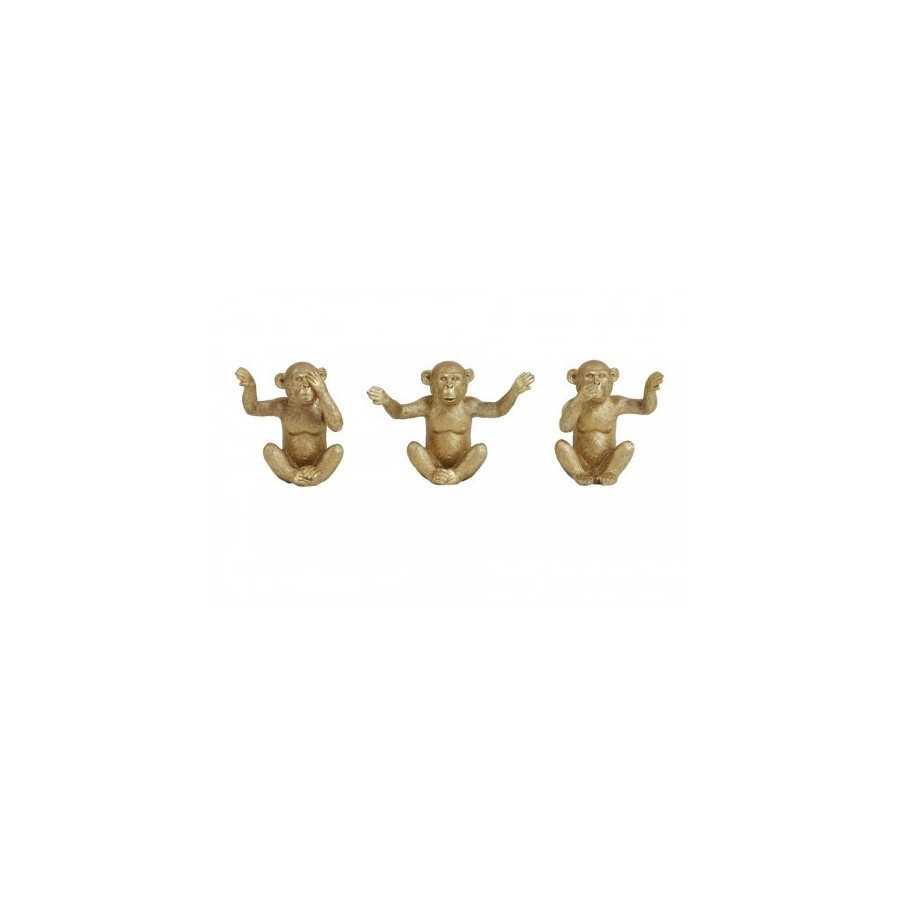 Ornament S/3 monkey Goud