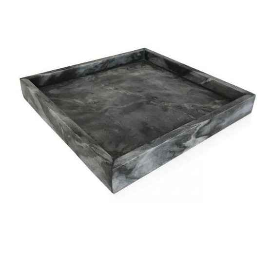 Marble tray, square dark grey