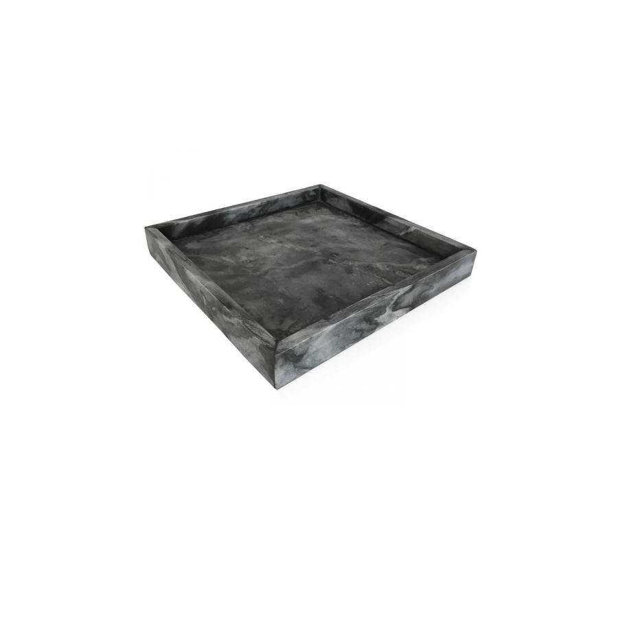 Marble tray, square dark grey
